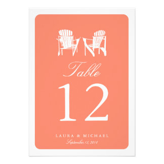 Two Adirondack Chairs Table Number Custom Announcement