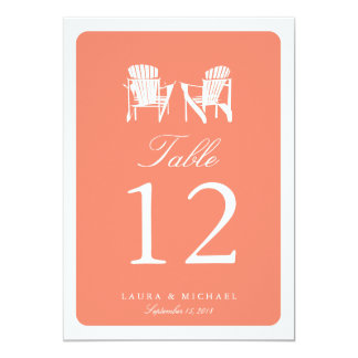 Two Adirondack Chairs | Table Number 13 Cm X 18 Cm Invitation Card