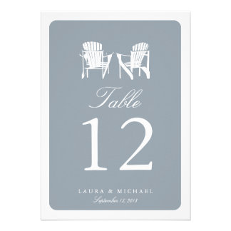 Two Adirondack Chairs Table Number Personalized Invite