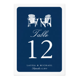 Two Adirondack Chairs Table Number Custom Invites