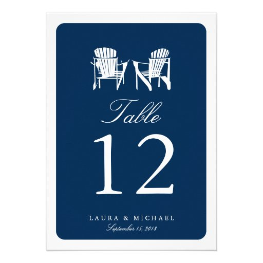 Two Adirondack Chairs | Table Number Custom Invites