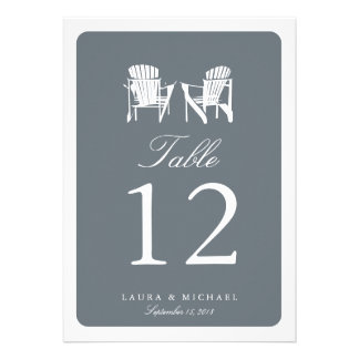Two Adirondack Chairs Table Number Custom Announcements
