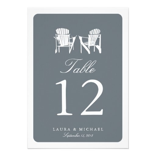 Two Adirondack Chairs | Table Number Custom Announcements