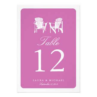 Two Adirondack Chairs Table Number Custom Invite