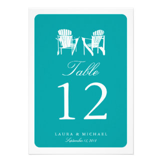 Two Adirondack Chairs Table Number Personalized Invitations