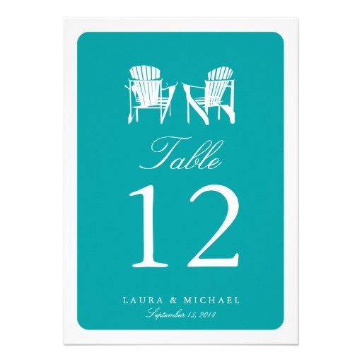Two Adirondack Chairs | Table Number Personalized Invitations