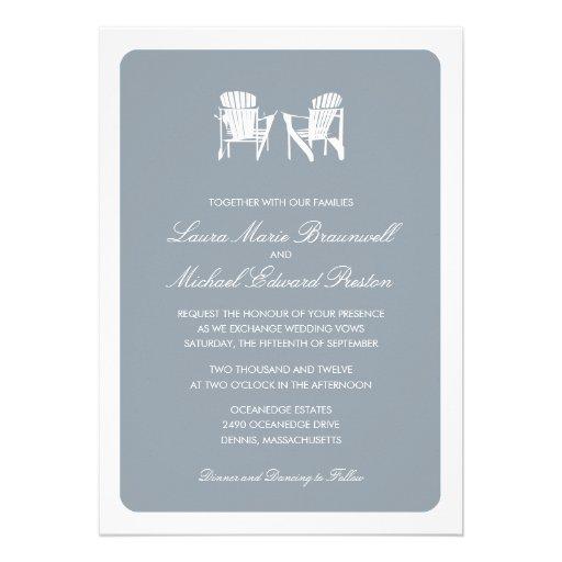 Two Adirondack Chairs Wedding Custom Invite