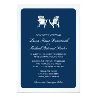 Two Adirondack Chairs Wedding 5x7 Paper Invitation Card