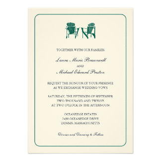 Two Adirondack Chairs Wedding Personalized Invite
