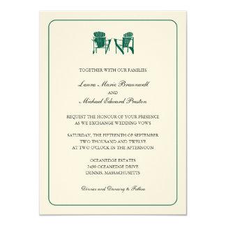 Two Adirondack Chairs Wedding 4.5x6.25 Paper Invitation Card