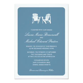 "Two Adirondack Chairs | Wedding 5"" X 7"" Invitation Card"