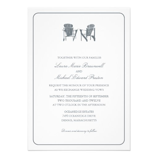 Two Adirondack Chairs Wedding Personalized Announcement