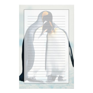 Two affectionate penguins custom stationery