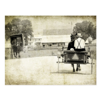Two Amish Buggies Sepia Rural Road Postcard
