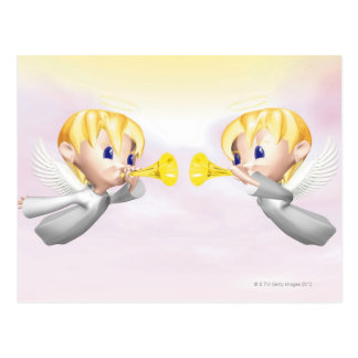 Two angels blowing horns, CG, 3D, Illustration, Postcard