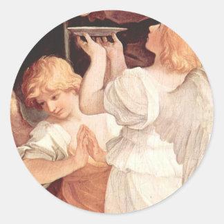 Two Angels, Guido Reni Christian Baroque Fine Art Classic Round Sticker