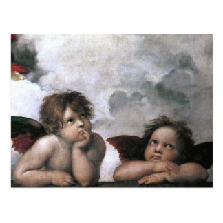 Two Angels, Raphael Vintage Fine Art Postcard