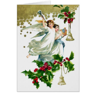 Two Angels with Bells Christmas Card