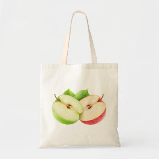 Two apple halves budget tote bag