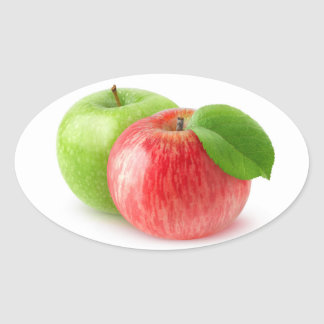 Two apples oval sticker