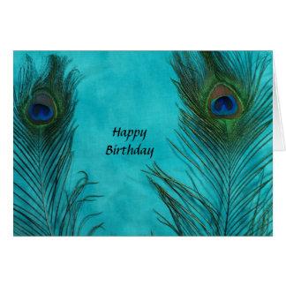 Two Aqua Peacock Feathers Card