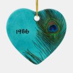 Two Aqua Peacock Feathers Ornament