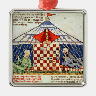 Two arabs playing chess in a tent metal ornament