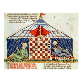 Two arabs playing chess in a tent postcard
