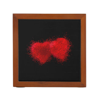 TWO AS ONE (particle hearts coming together) ~ Desk Organisers