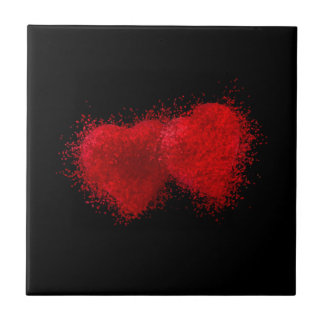 TWO AS ONE (particle hearts coming together) ~ Small Square Tile
