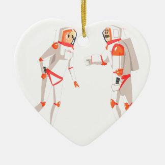 Two Astronauts In Space Suits Chatting On Dark Ceramic Ornament