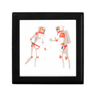 Two Astronauts In Space Suits Chatting On Dark Gift Box