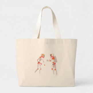 Two Astronauts In Space Suits Chatting On Dark Large Tote Bag
