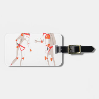 Two Astronauts In Space Suits Chatting On Dark Luggage Tag