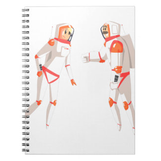 Two Astronauts In Space Suits Chatting On Dark Notebooks