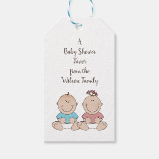 Two Babies Gender Reveal Shower Favor Tags