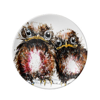 Two baby birds illustrated porcelain plates