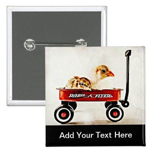 Two Baby Chicks in Red Wagon Pins
