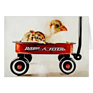 Two Baby Chicks in Red Wagon Greeting Card