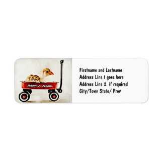 Two Baby Chicks in Red Wagon Return Address Label