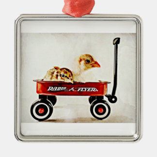 Two Baby Chicks in Red Wagon Silver-Colored Square Decoration