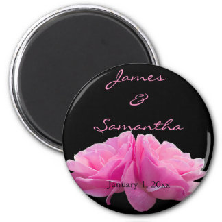 Two Back to Back Pink Roses Personal Wedding Magnet