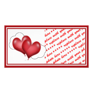 Two Balloon Hearts With Cloud Photo Card