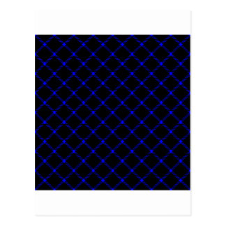 Two Bands Small Diamond - Blue on Black Postcard