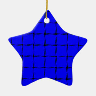 Two Bands Small Square - Black on Blue Christmas Tree Ornaments