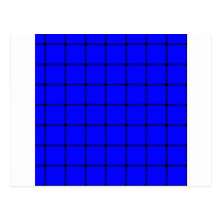 Two Bands Small Square - Black on Blue Postcard