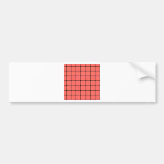 Two Bands Small Square - Black on Pastel Red Bumper Stickers