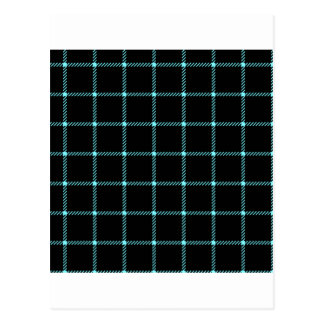Two Bands Small Square - Electric Blue on Black Postcard