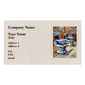 Two Barber Chairs With Pink Striped Barber Capes Double-Sided Standard Business Cards (Pack Of 100)