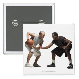 Two basketball players 2 15 cm square badge